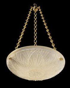 Marvin Alexander,Inc. Art Deco molded glass pendant with floral moitf, France circa 1930.