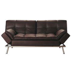 Gestepptes ausziehbares 3-Sitzer-Sofa aus Kunstleder, braun Denver