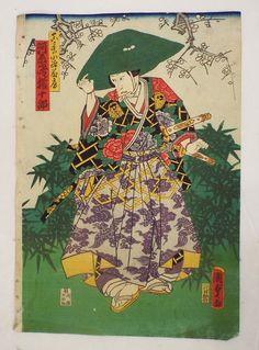 Estampe Japonaise Originale Kunisada II Samourai Chapeau Fleurs DE Cerisiers   eBay