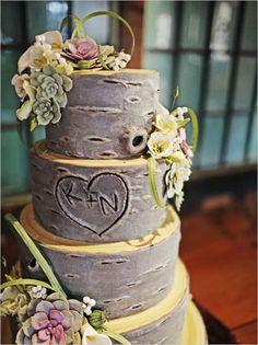 Tree Trunk Wedding Cake--adorable.