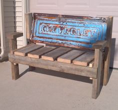 Stepside Chevrolet Tailgate Bench With Reclaimed Wood