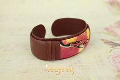 Simple and beautiful hand painted bracelet. No Gemstones, No Amber, just soft and tender leather with this unusual hand painted pattern.  #leather #jewellery #amber #handmade #bracelet #bangle #unique #fashion #unisex #leatherjewelry #oneofakind at valfrea.com.au