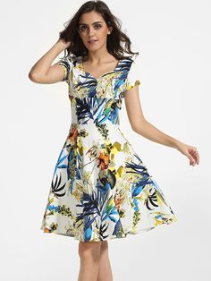 Sweet Heart Dacron Floral Printed Skater Dress Only $34.95 USD More info...