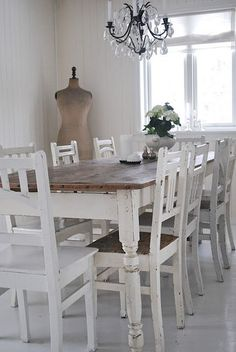 His response conferred shabby chic dining room decor Shabby Chic Dining Room, Shabby Chic Table And Chairs, Shabby Chic Kitchen, Dining Table Chairs, Shabby Chic Homes, Shabby Chic Furniture, Shabby Chic Decor, Cheap Furniture, Farm Tables