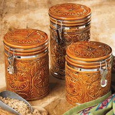 Tooled Ceramic Canister Set - 3 pcs lone star western decor - I NEED these!!