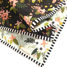 Modern Wholecloth Baby Quilt-Modern Baby Girl Quilt-Baby Quilt Blanket-Floral…