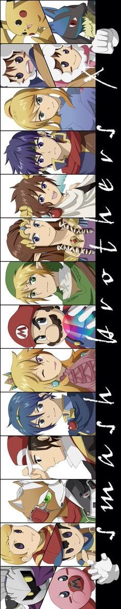 Popo, Nana, Link, Lucas, Red, Ness, Lucario, Samus Aran, Zelda, Master Hand, Crazy Hand, Marth, Mario, Fox, Ike, Meta Knight, Princess Peach, Kirby, Pit and Pikachu.