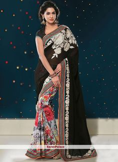Black And Off White Printed Half And Half Saree