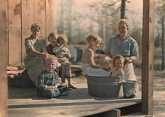 Saturday evening bath time in Spencer, Tennessee,  1939. Kodachrome by J. Baylor Roberts.