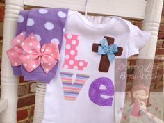 Easter Outfit for baby girls -- For God So Loved The World -- Leg warmers and bodysuit -- pretty pastels LOVE with Christian cross by DarlingLittleBowShop on Etsy https://www.etsy.com/listing/181475882/easter-outfit-for-baby-girls-for-god-so