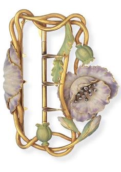 AN ART NOUVEAU ENAMEL AND DIAMOND BUCKLE. Designed as a textured gold wirework plaque, enhanced by a lavender enamel flower, with rose-cut diamond cluster pistil, to the green enamel leaves and buds, mounted in 18k gold, circa 1900, with French assay marks and maker's mark. With maker's mark for Aucoc Fils.