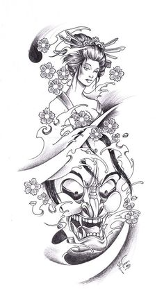Geisha Tattoo Designs | Tattoo_Geisha_Oni by kauniitaunia on deviantART