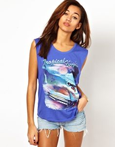 Enlarge Motel Tank Top In Tropical Nights Print