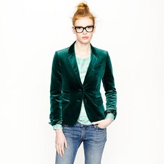 Schoolboy blazer in green velvet - this is it!  My chance to finally look like Jarvis Cocker! (Click this link to see what the heck I'm on about: http://en.wikipedia.org/wiki/Jarvis_%28album%29)