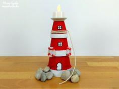 Világítótorony cserepekből – Nyári dekoráció Beach House Decor, Home Decor, Candles, Christmas Ornaments, Holiday Decor, Glass, Crafts, Modern, Creative