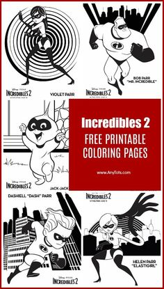 Incredibles 2 Coloring Pages 5 Sheets Of Includes Mr Incredible Elastigirl Violet Dash And Jack Parr