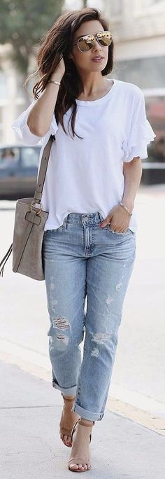 white top + denim
