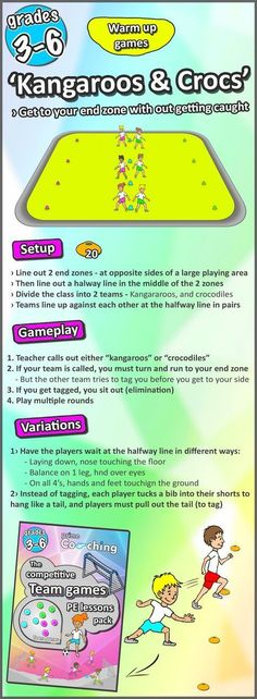 great PE warm-up games Great PE warm-up sports game, great way to get your elementary kids started in their lessons. Check out all 8 here!Great PE warm-up sports game, great way to get your elementary kids started in their lessons. Check out all 8 here! Summer Camp Games, Group Games For Kids, Camping Games, Kids Gym Games, Fitness Games For Kids, School Games For Kids, Recess Games, Sports Games For Kids, Kids Fitness