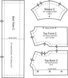 Free fashion DOLL sewing pattern top and skirt yoke patterns