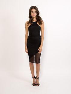 boutique flirt - Donna Mizani Mid Length Racer Front Mesh Dress Black, $129.00 (http://www.boutiqueflirt.com/donna-mizani-mid-length-racer-front-mesh-dress-black/)