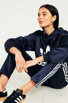 adidas Originals Europa Navy Satin Track Trousers | Urban Outfitters | Women's | Sportswear #UOEurope #UrbanOutfittersEU
