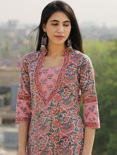 Latest Salwar Kameez Designs, Silk Kurti Designs, Kurta Designs Women, Kurti Designs Party Wear, Neck Designs For Suits, Neckline Designs, Dress Neck Designs, Salwar Pants, Kalamkari Kurta