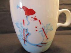Starbucks Holiday Cup Skiing Snowman Penguin White Blue Red ONE Mug 2007 6oz #Starbucks