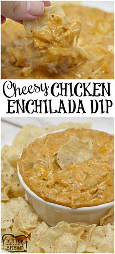Cheesy Chicken Enchilada Dip is loaded with cheese, chicken, and a little bit of spice too! Add some chips and this is the perfect party food!