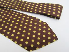 1940s Neck Tie by ARROW in Brown with Yellow Polka Dots