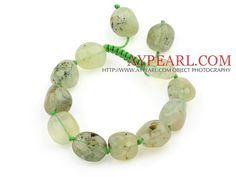 We can supply Green Series Fillet Irregular Shape Prehnite Knotted Adjustable Drawstring Bracelet with comparable price. More information please visit:http://www aypearl.com