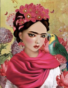 Frida Kahlo Artwork, Frida Kahlo Portraits, Kahlo Paintings, Frida Art, Diego Rivera, Frida Kahlo Birthday, Frida And Diego, Seashell Painting, Illustration Art