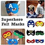 Superhero Masks by Little Rocket™ Perfect Party Bag Fillers or Stocking Fillers for Boys Aged 3-10 Years Old. Felt Stitched Masks, x 14 Random Masks in Each Pack