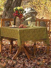 Peony Jacquard Tablecloth - Olive