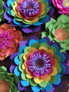 Trolls paper flowers / trolls birthday party / trolls backdrop - New Deko Sites Large Paper Flowers, Tissue Paper Flowers, Paper Flower Backdrop, Giant Paper Flowers, Paper Roses, Diy Flowers, Diy Paper, Paper Crafts, Trolls Birthday Party