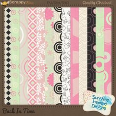 Back In Time - Papers Pack 1  Back In Time - Papers Pack 3 included in {Back In Time} Collection by Sunshine Inspired Designs. includes 13 coordinating pattern papers in mint green, pink, cream, white and black.This Collection will bring back memories of music records and jukeboxes. This retro kit is perfect for scrapbooking all the old photos you have stored in a shoe box at the back of your closet for years now.