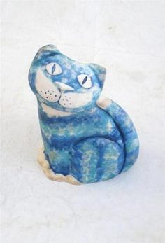 Jenny Finch Dalton Studio Pottery Scottish Blue Cat Vase
