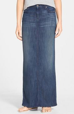CJ by Cookie Johnson 'Kind' Boho Denim Maxi Skirt available at #Nordstrom