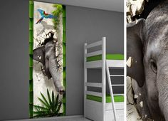 Muursticker kinderkamer jungle - Jungle kamer idee Tall Cabinet Storage, Locker Storage, Ladder Decor, Playroom, Baby Kids, Bedroom, Furniture, Home Decor, Kids Rooms