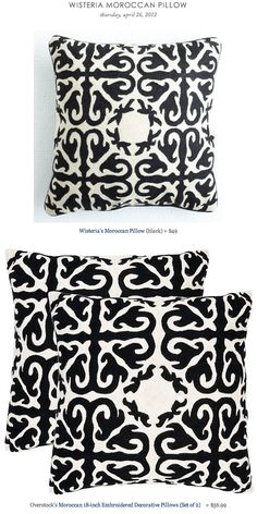 WISTERIA MOROCCAN PILLOW vs OVERSTOCK'S MOROCCAN EMBROIDERED DECORATIVE PILLOWS