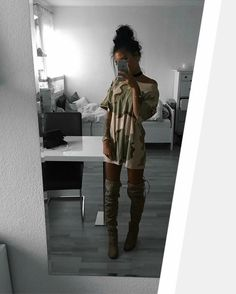 Oversized camo tee with a black choker and thigh high boots. //Pinned on @benitathediva, LifeSTYLE Blog