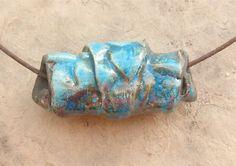 Raku Ceramic Bead - Large Turquoise Leaf Croissant Bead. $10.00, via Etsy.