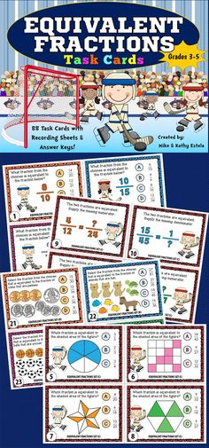 This Equivalent Fractions pack contains a total of eighty-eight (88) task cards divided into three (3) sets.