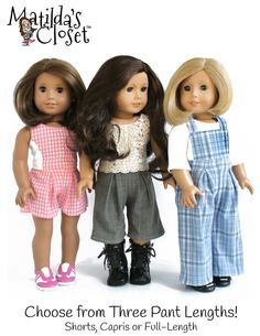 """Bibbed Culottes 18"""" Doll Clothes pattern from PixieFaire.com"""