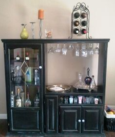 Our new bar made out of our old TV cabinet