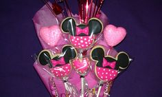 Minnie Mouse Sugar Cookies Valentine's Day Bouquet...close up!