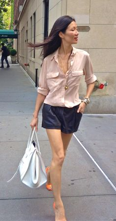 running around nyc w/ the marissa webb team. blush silk blouse + leather shorts + celine. getting ready for fashion week!