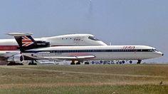 Trident three BEA alongside TWA B747-100
