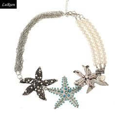 2014 Summer New Designers Starfish With Pearl Necklace Women Fashion Chokers Necklaces & Pendants N131