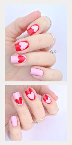 45 ideas for nails red valentines pink hearts Heart Nail Designs, Valentine's Day Nail Designs, Holiday Nail Designs, French Nail Designs, Simple Nail Designs, Holiday Nails, Nails Design, Art Designs, Design Art