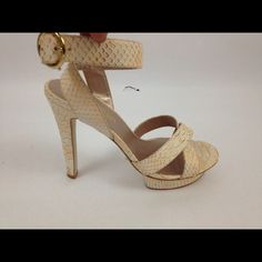 Colin Stuart Victorias Secret Python Heels Pumps 8 Sexy little strappy heels with a front platform and gold clasp. Excellent condition. Size 8. Heel height is 5 inches. Faux leather snake print. Colin Stuart Shoes Heels